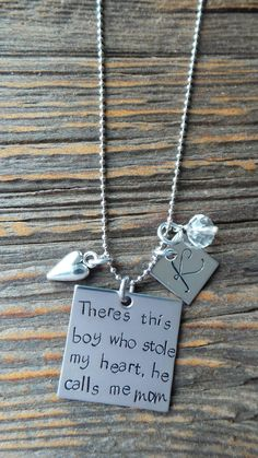 The love between a mother and son is such a powerful bond. Let this necklace celebrate that love.    1 inch high quality stainless steel square