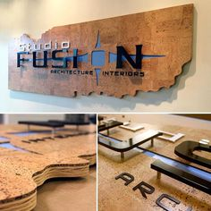 #flashbackmonday to this #awesome #custom #officesign we made all the way back in #2013 with a #CNC cut backer, #inlaid #acrylic & #dimensionalletters this is still one of the coolest office signs we have made! #customsignage #studiofusion #signdesign #fabrication #signs #corktiles #cncrouting #dimensionalsignage #branding #officesigns