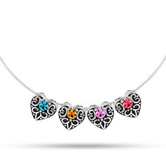 Vintage Style 4 Birthstone Silver Heart Slide Pendant | Eve's Addiction    Idea for mom, @starlightcg , @aceuppgard ,@jessitchens , @tkawertz , @nainmaine