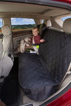 Car Seat Protector Mat - Covers Entire Rear Seat - Black