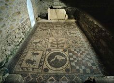Archaeological site of Teurnia (Upper Carinthia, Austria) - late Roman mosaic from the so-called cemetery church. Teurnia was the capital of of the Roman province of Noricum mediterraneum with, in its peak period, a population of 30,000.