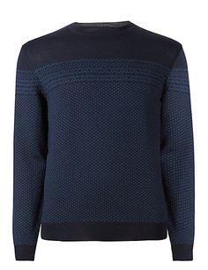 Merino Wool Rich Slim Fit Geometric Print Jumper with Silk | M&S