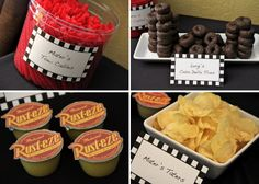 cars themed birthday party ideas | Mater's Tow Cables (red licorice) • Luigi's Casa Della Tires (mini ...