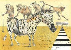 ZEBRA & MONKEYS Art Print by BANDY | Society6