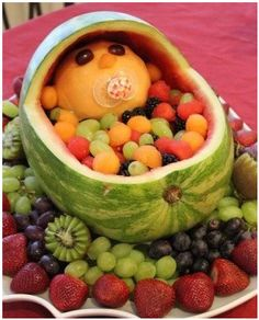Super cute baby shower fruit bowl! The baby's crying!!!!! answer the PHONE!
