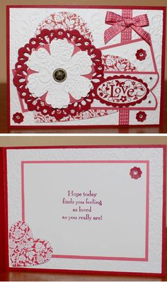 Stampin Up You are Loved. Inside view of the card.
