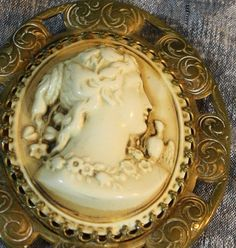 Antique 1800's Bone Cameo Eos with Morning Lark by eveningangel, $300.00