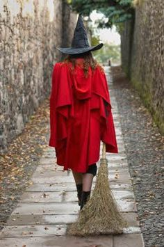 witch halloween costume photo red cape