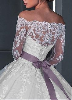 Buy discount Alluring Tulle Off-the-Shoulder Neckline Ball Gown Wedding Dresses with Detachable Jacket at Dressilyme.com