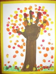 Fall Hand Art - preschooler craft idea