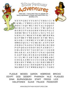 A Word Search puzzle for kids from the story, Escape from Egypt.