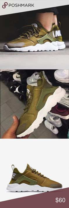 Nike women's air huarache Nike women's air huarache olive green used but in great condition Nike Shoes Sneakers