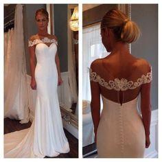 Eleagnt Simple Cheap Mermaid White Long Wedding Dresses, BG51508