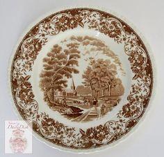 Brown & White Vintage Transferware Plate - Farmer Horse & Cart English Countryside Pastoral Scene
