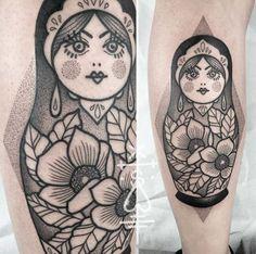 Black+and+grey+ink+dotwork+nesting+doll+by+Sarah+Herzdame