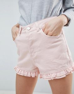 5bd919b3fe4 ASOS DESIGN denim short in washed pink with frill hem at asos.com