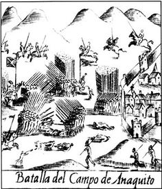 316 - AÑOS 1544/1546 - IÑAQUITO - Esta larga campaña, con tan variadas y extrañas peripecias, terminó pues en el campo de Iñaquito cerca de Quito), donde se dio una batalla entre las fuerzas que obedecían al Virrey y a Sebastián de Benalcázar y las que comandaba Gonzalo Pizarro. Combatió en ella Blasco Núñez desesperadamente lanza en mano haciendo prodigios de valor y de fuerza no obstante sus muchos años, hasta que al fin, cayó a un golpe de maza que le descargó Hernando de Torres,