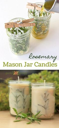 Rosemary Pressed Herb Mason Jar Candles DIY Project - Rosemary looks great in these candles, but you can also use herbs like thyme or lavender that are readily available in the garden, grocery store, or garden center. This project uses a mix of beeswax and soy wax, Mason jars, pressed rosemary leaves, and essential oils. These easy-to-make candles can be used as beautiful handmade gifts or a special treat for just you!