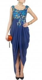 Blue draped queensberry gown