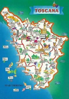 Tuscany (Toscana) is a region in central Italy with unbelievable beauty. Filled with landscapes & medieval hill-towns it is definitely worth a visit. Map Of Tuscany Italy, Italy Map, Sorrento Italy, Italy Italy, Naples Italy, Venice Italy, Italy Vacation, Italy Travel, Road Trip Map