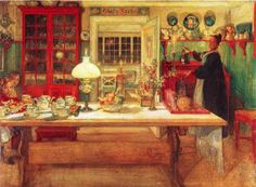 Another one of Carl Larsson's kitchen scenes. Note the red cabinets and teal-green walls