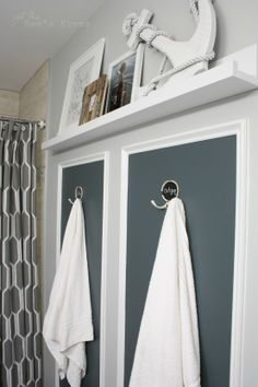 Use hooks instead of towel bars! Bathroom makeover from Just The Bees Knees