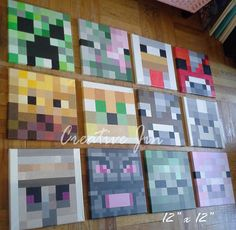 "Kids Bedroom Minecraft minecraft inspired wall painting,12""x12"" canvas, boys room"