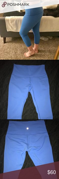 Lululemon Wunder Under High Rise Crop Pant LLL high rise crops in Carolina Blue, no longer available. Barely worn, maybe a handful of times, always on delicate in cold water with only other LLL clothing and hang dried. lululemon athletica Pants Leggings