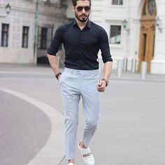 Friday looks 😊 Man Dressing Style, Mens Fashion, Fashion Outfits, Trousers, Pants, Formal, White Jeans, Cool Outfits, Normcore