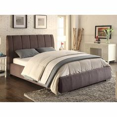 Contempo Grey Fabric Upholstered Bed