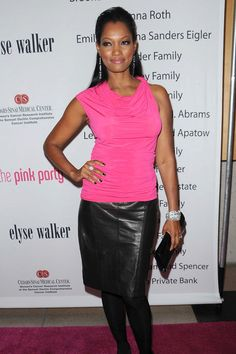 Garcelle Beauvais in black leather