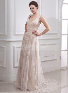 Corte A/Princesa Escote en V Cola corte Satén Tul Vestido de novia con Encaje Bordado (002000313) - JennyJoseph