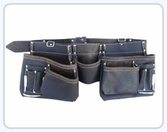 """Oil Tan Leather Apron 5 Large Pockets for nails & 6 pockets for small tools 2 Chrome Plated Hammer Holder Heavy Duty Leather Belt fits waist size 30""""- 46""""."""