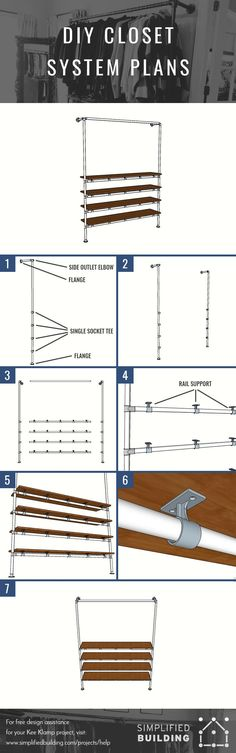 DIY Closet System Built with Pipe & Fittings (Plans Included)  #KeeKlamp #DIY #clothingrack