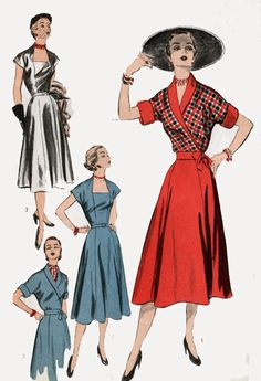 1950s Dress with WRAP Jacket Advance 5735 Vintage Rockabilly 50s Sewing Pattern Size 12 B30 by sandritocat on Etsy