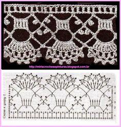 Crochet lace edging made from DMC Crochet Edging Patterns, Crochet Lace Edging, Crochet Chart, Crochet Diagram, Crochet Borders, Thread Crochet, Irish Crochet, Diy Crochet, Crochet Designs