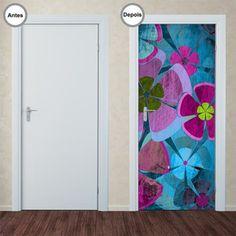 Adesivo Decorativo de Porta - Flores - 076pt