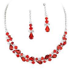 Elegant Garnet Red Jewel Collar Necklace Set for Prom Bridesmaid Bride R1