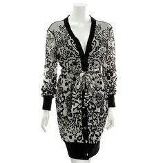 Fuzzi Black & White Floral Print Button Up Long Cardigan