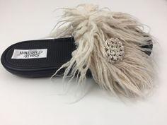 Feather Faux Slide/ivory alabaster  www.jamiekreitman.com Fur Slides, Slide Sandals, Feather, Ivory, Shoes, Fashion, Sandals, Moda, Quill