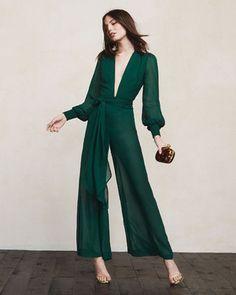 green deep v-neck jumpsuit