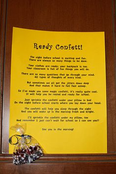 Ready Confetti - night before 1st day of school