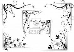 Black vintage floral corner set, illustration