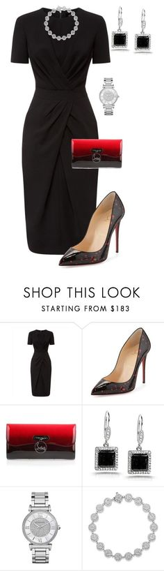 """Untitled #500"" by angela-vitello ❤ liked on Polyvore featuring Jaeger, Christian Louboutin, Kobelli and Michael Kors"
