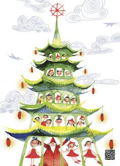 """Christmas Tree Pagoda - Masha D'Yans - Christmas Card. Santa and his helpers form a pagoda of holiday cheer in this pretty Christmas card. Send good cheer to loved ones by adding a personal message. 5"""" x 7"""" Folded Card. Price: $2.99"""