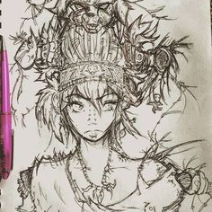Tribal Duality.  #morning #speed #sketch #of #an #anime #girl #with #tribal #accesories #lol #feathers #horns #dolls #and #a #bunch #of #voodoo #stuff #+ #shitload #alternative #piercings #dead #wolves  #shirobyak