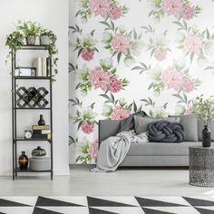 Tapeta w kwiatowym motywie #salon #tapeta #wnetrze #kwiaty #roslinnosc #nowoczesnosc  #livingroom #wallpaper #interior #flowers #flora #modernity