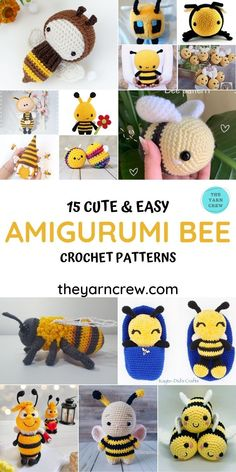 15 Cute & Easy Amigurumi Bee Crochet Patterns you can crochet right now. Adorable bee patterns curated by The Yarn Crew. #amigurumipatterns #crochetpatterns #amigurumi #amigurumidoll #crochettoys #crochetforbaby #amigurumibee #beetoys Easy Amigurumi Pattern, Crochet Animal Amigurumi, Crochet Animal Patterns, Crochet Doll Pattern, Stuffed Animal Patterns, Kawaii Crochet, Cute Crochet, Crochet Baby, Toddler Gifts