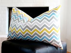 Lumbar Chevron pillow cover 13 x 20 teal mustard grey