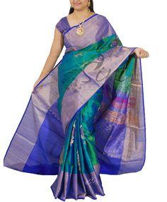 Pure uppada Silk Saree in Peacock Green Blue